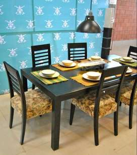 New modern dining table set | sheesham made | 6 chairs & table polish.