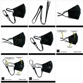 Masker Kain Adjustable Earlop Oirav 0.1  Black/Hitam Edition