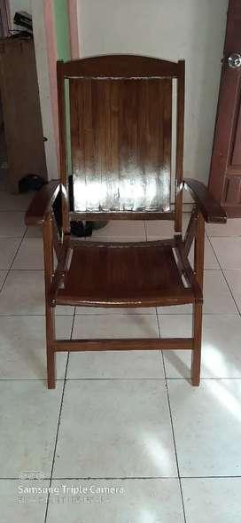 Kursi malas lipat, kursi garden, kayu jati, finis natural, freeongkir