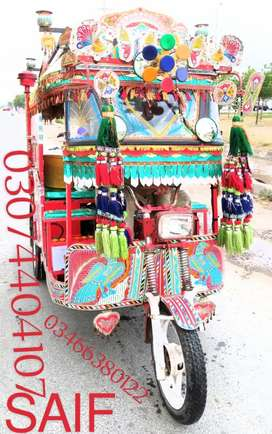 Ice cream rickshaw with car engine