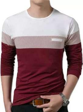 Men's Self Pattern Cotton Round Neck T shirt