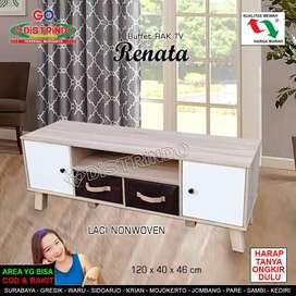 Rak TV Bahan Full Papan Tebal Warna Cantik Model Retro Minimalis