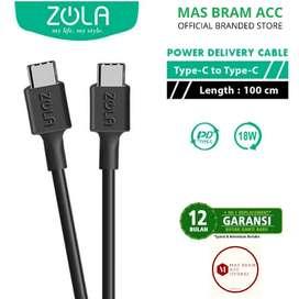 [GARANSI 12 BULAN] Kabel Cas Data ZOLA USB C to C 18W FAST CHARGING 1m
