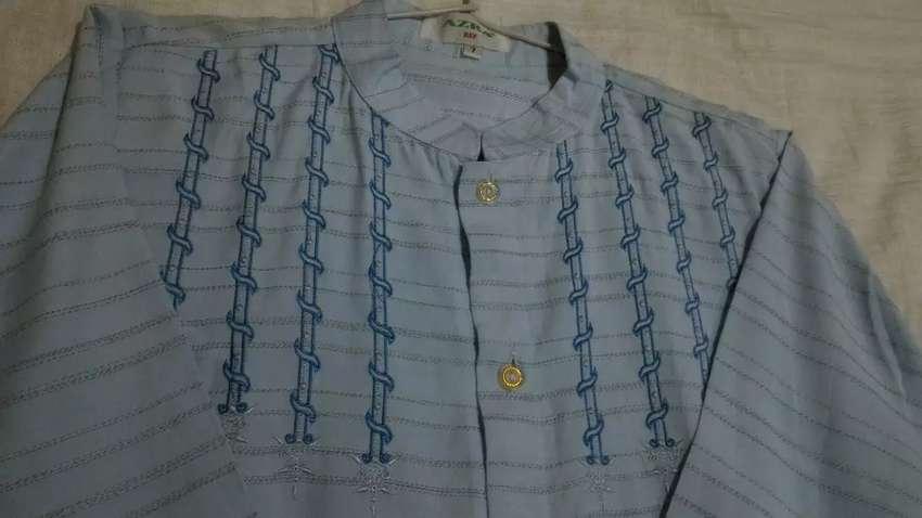 Baju koko anak motif sulam biru