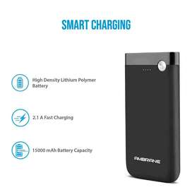 Ambrane 15000 mAH Lithium Polymer Power Bank with Micro/Type C Input f