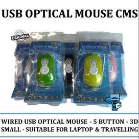 Mouse USB Optical CMS - 5 Button 3D Portable Mouse for Laptop