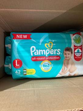 42 Pampers Diapers packs L-size (9-14kg)