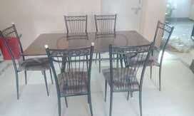 Dinning (Table, Glass Top + 6 Chairs) Set, Iron
