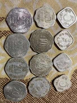 Old coins of 5 paisa 10 paisa 20 paisa