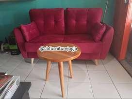 Sofa Scandinavian 2 Seater Double sandaran + Meja bulat