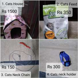 Cat house , Cats feed , Cats neck chain , Cats neck holder