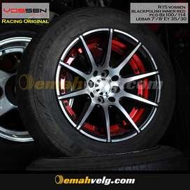 JUAL VELG  R15 vossen blackpolish inner red (MOBILIO,BR-V) OEMAH VELG