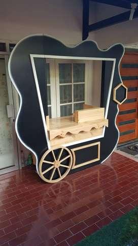 Booth Rombong 2m Bahan Kayu Model Terbaru Keren Unik Di Surabaya