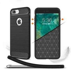 AyooDropship - TPU Silicone Case Carbon Fiber for iPhone 7/8 - Black