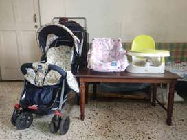 Combo Set:-Mee Mee Baby Pram, Mee Mee Carry Cot and Meal chair