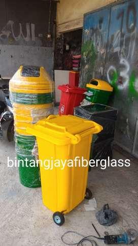 tempat sampah fiberglass,bak sampah murah,tong roda 120liter baru new
