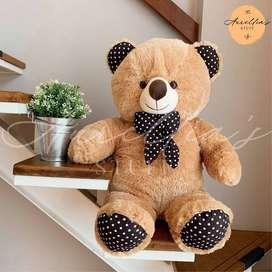 Boneka Beruang Teddy Bear Polkadot Coklat Susu 80 cm Jumbo ID53