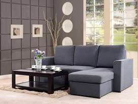 Kowloon Sectional Sofa Cum Bed In Charcoal Grey Color By Urban Ladder