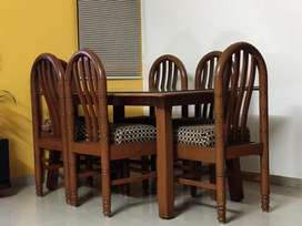 Solid Wood Dining Table Set: 6 chairs 1 table with glass top