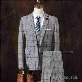 Men's Casual Suit Coat Vest Pants Three Piece Suit