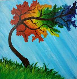 Acrylic Painting 12 x 12 Inch on Canvas | Hand Made Colorful Tree