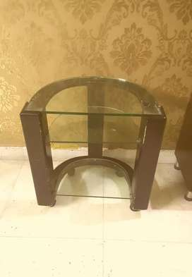 Tv trolley black 12mm glass with shelves