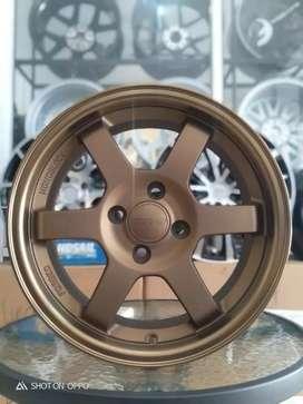 Velg te37 bronze ring 15x7 pcd 4x100 et38.brio,agya,ayla.