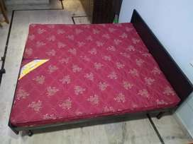 Wooden Double bed without box and Sleep well Mattresses