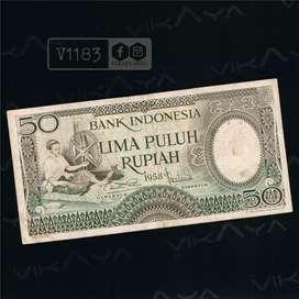 V1183 Uang Kuno  Pecahan 25 Rupiah Seri Pekerja I Tahun 1958
