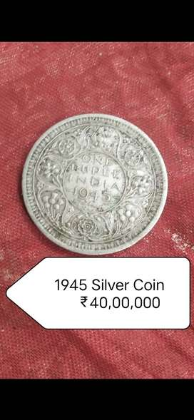 1945 British India Pure Silver Coin