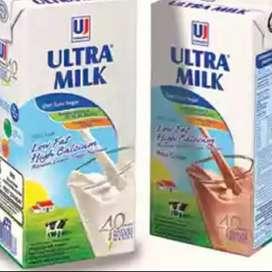 Susu UHT Ultra Jaya LOW FAT @1 L rs Full Cream ato Coklat-12 btl-baru