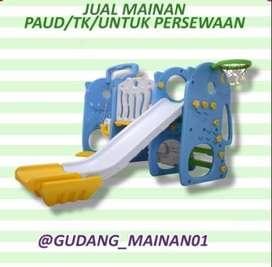 Mainan Indoor Playground Perosotan, Ring Basket, Ayunan Serta Pagar