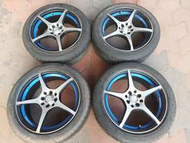 17 inch 4 hole 100/114 pcd 4 ps 7j  alloy and tyre for sale