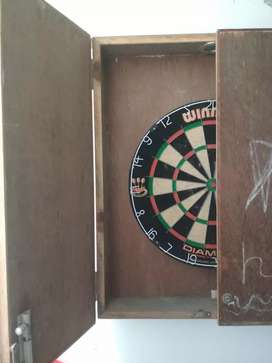 Dart Board with wooden cabinate