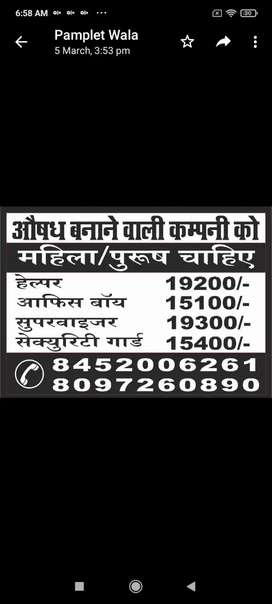Manufacturing companies required manpower requirements