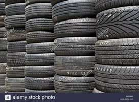 OLD TYRES FOR ALL VEHICLE ONLY 20% TO 30% USED TYRES FOR CAR