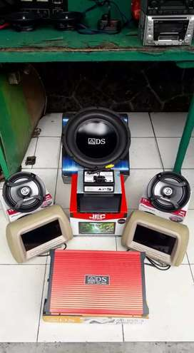 Paket audio mobil 1 set, hedunit, power, subwofer, spiker camera