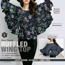 Ruffled wing top for girls