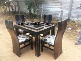 WOODEN DAINING TABLE 4CHER SATH with glass available