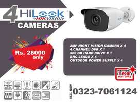 Original Hilook CCTV by Hikvision 4 cameras package