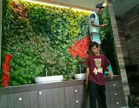 Vertical garden indah sintetis atau daun pelastik