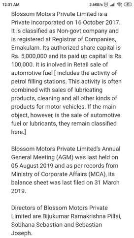 Accountant in Blossom motors in Calicut