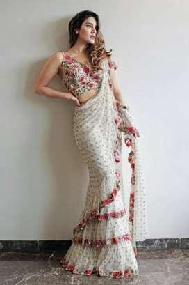 Designer White Georgette Embroidered Saree RS 2499