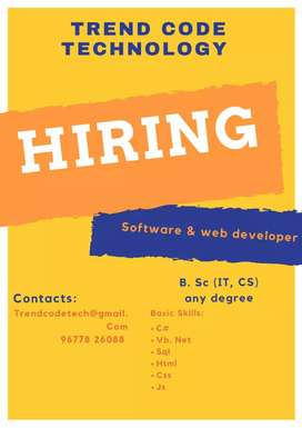 We are hiring fresher's for software & web development