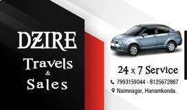 Swift dzire trawel services.all over any rents acceptable feel free to