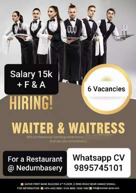 Waiters required at Angamaly, Ernakulam