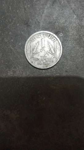 Half Rupee 1950 Coin for Sale