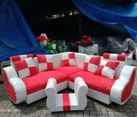 Sofa L new LOVE cream-merah minimalis+bantal.