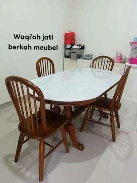 Meja makan marmer mewah kursi 4, bahan kayu jati tua asli