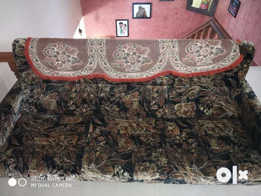 Velvet covered sofa